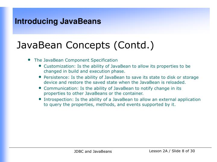 JavaBean Concepts (Contd.)