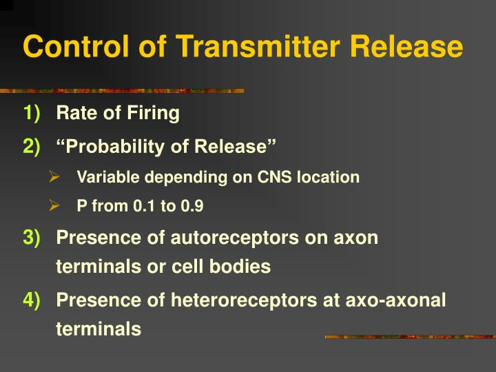 Control of Transmitter Release