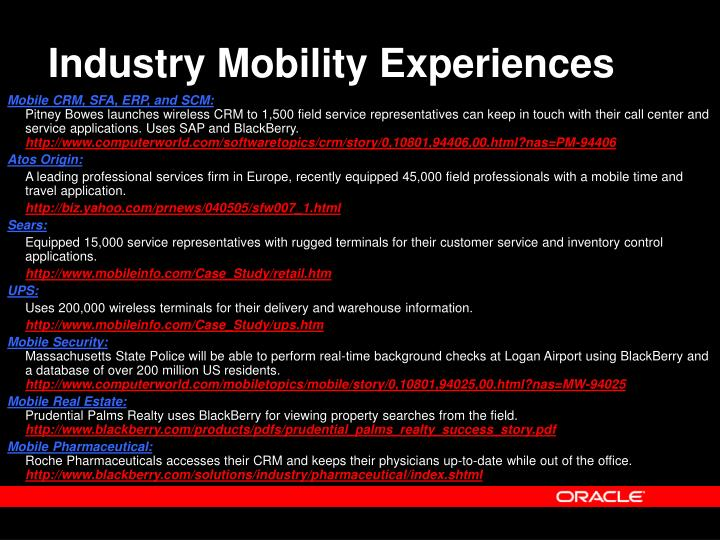 Industry Mobility Experiences