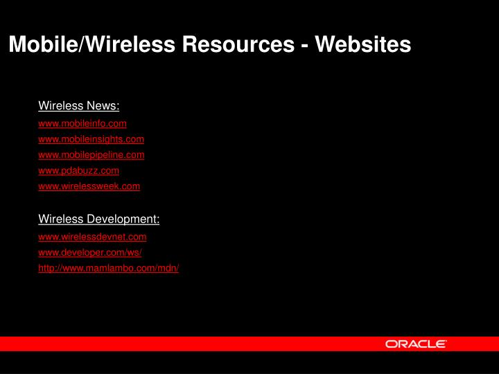 Mobile/Wireless Resources - Websites