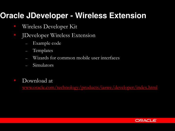 Oracle JDeveloper - Wireless Extension
