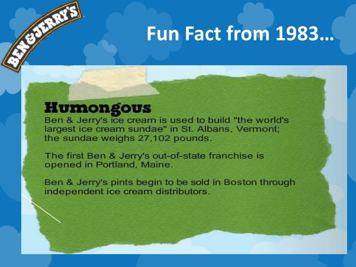 Fun Fact from 1983…