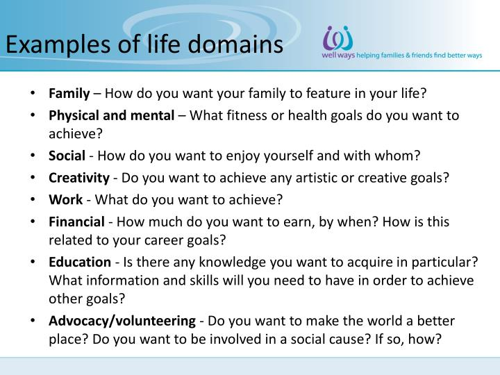 Examples of life domains