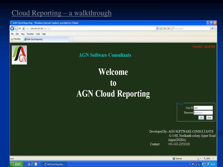 Cloud Reporting – a walkthrough