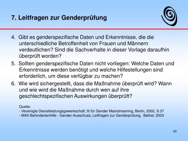 7. Leitfragen zur Genderprüfung