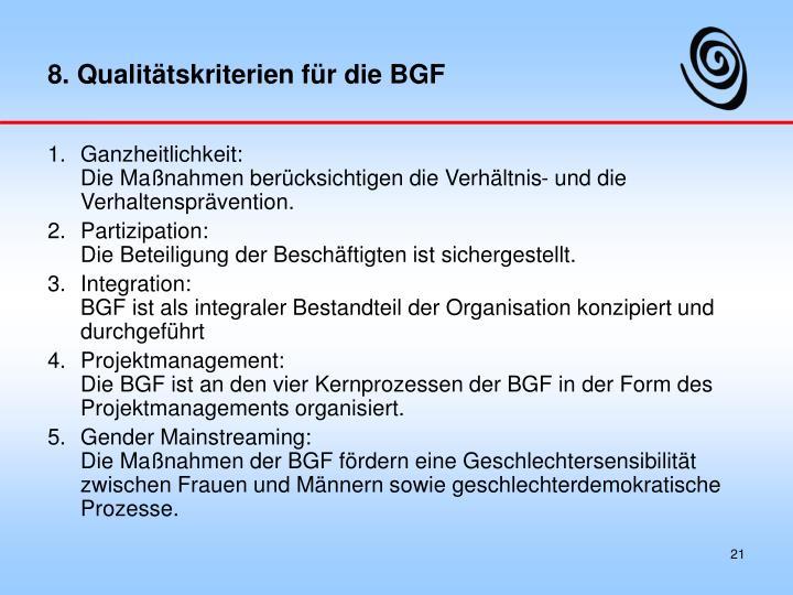 8. Qualitätskriterien für die BGF
