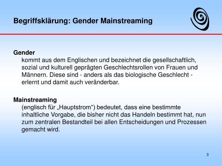 Begriffskl rung gender mainstreaming