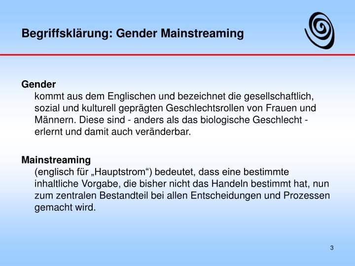 Begriffsklärung: Gender Mainstreaming