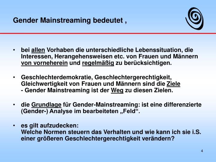 Gender Mainstreaming bedeutet ,
