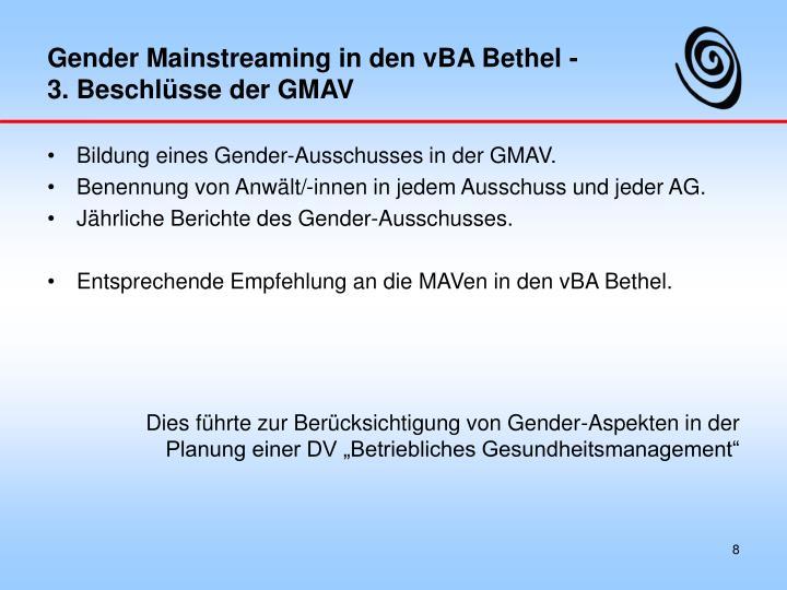 Gender Mainstreaming in den vBA Bethel -