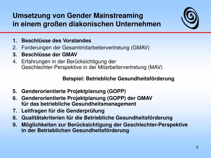 Umsetzung von Gender Mainstreaming