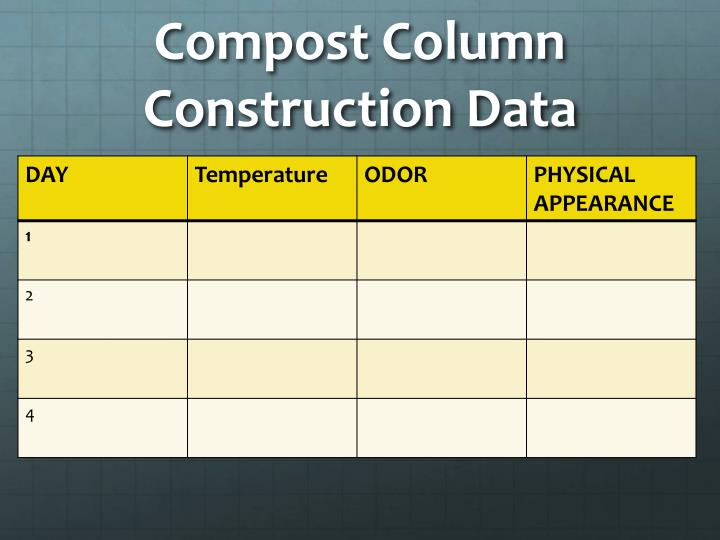 Compost Column Construction Data