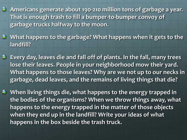 Americans generate about 190-210 million tons of garbage a year. That is enough trash to fill a bumper-to-bumper convoy of garbage trucks halfway to the moon.
