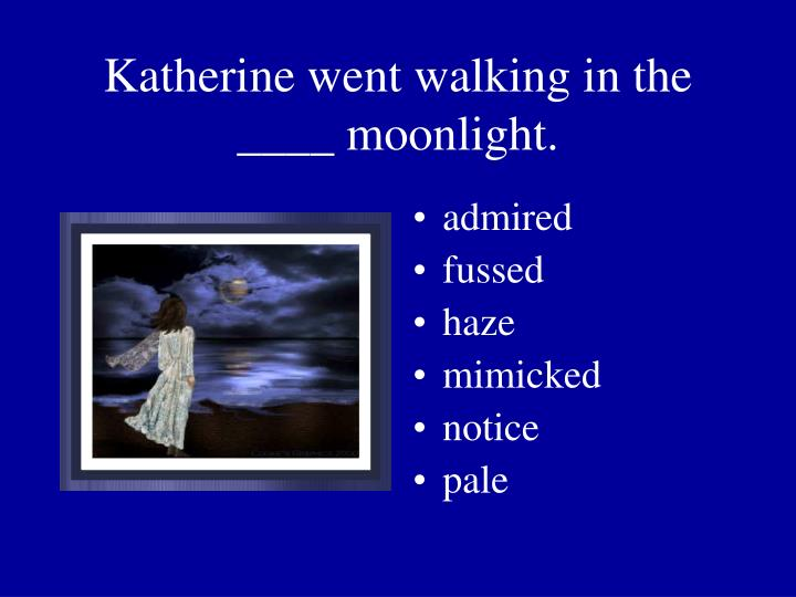 Katherine went walking in the ____ moonlight.