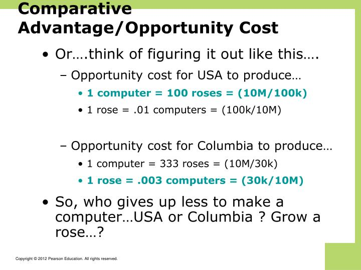 Comparative Advantage/Opportunity Cost