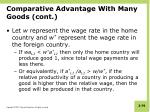 comparative advantage with many goods cont
