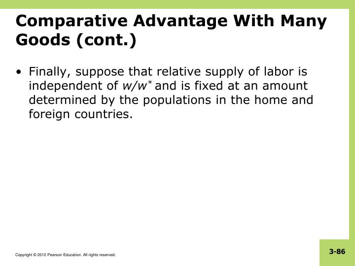 Comparative Advantage With Many Goods (cont.)