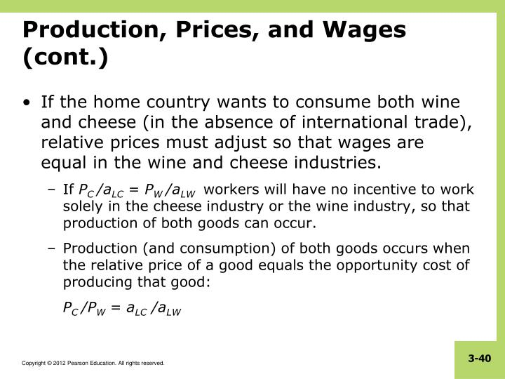 Production, Prices, and Wages (cont.)