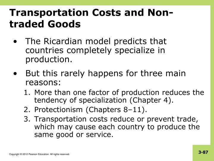 Transportation Costs and Non-traded Goods