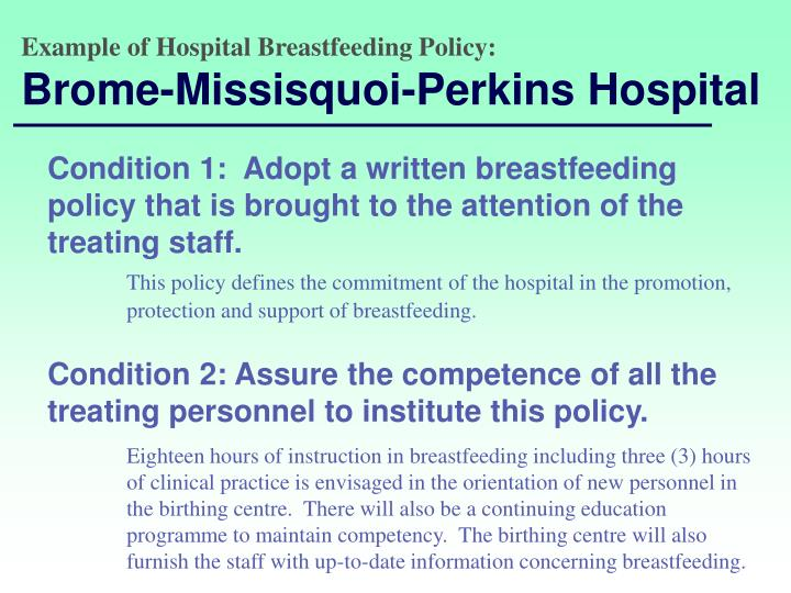 Example of Hospital Breastfeeding Policy: