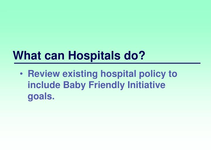 What can Hospitals do?