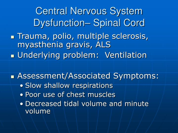 Central Nervous System Dysfunction– Spinal Cord