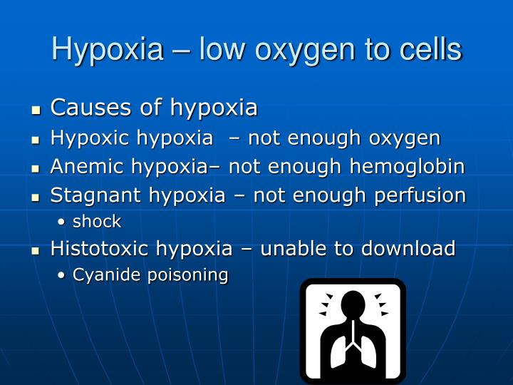 Hypoxia – low oxygen to cells