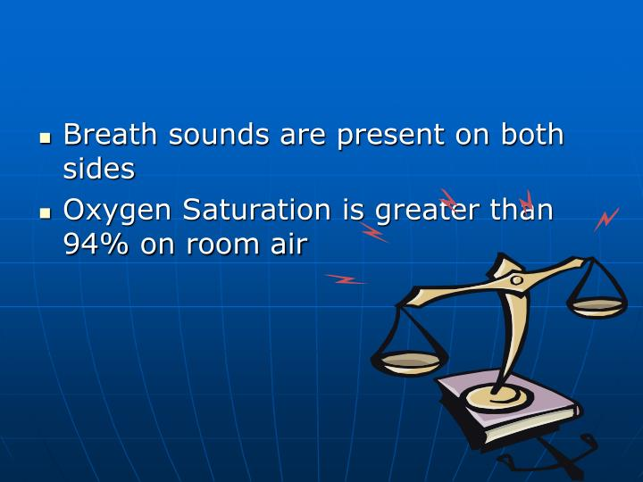 Breath sounds are present on both sides