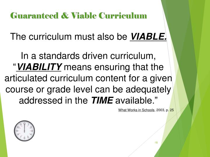 The curriculum must also be