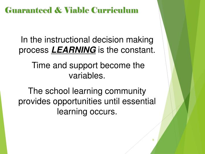 In the instructional decision making process