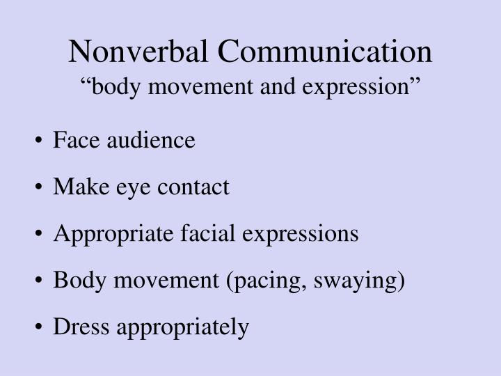 Nonverbal communication body movement and expression