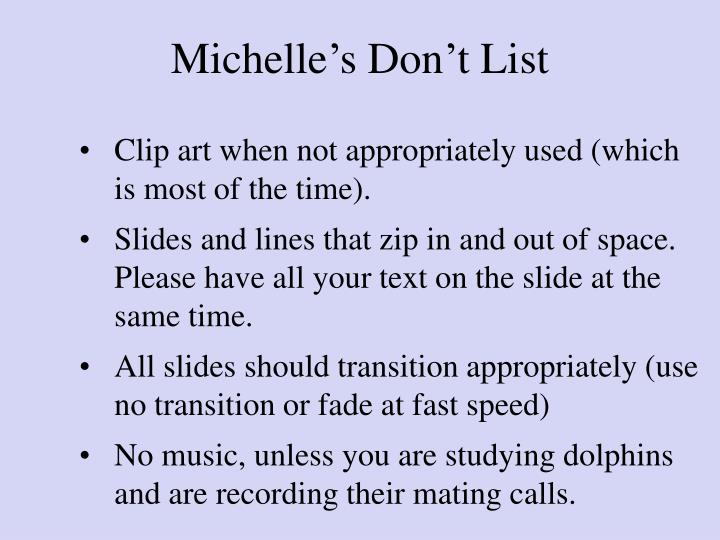 Michelle's Don't List