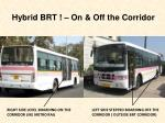 hybrid brt on off the corridor