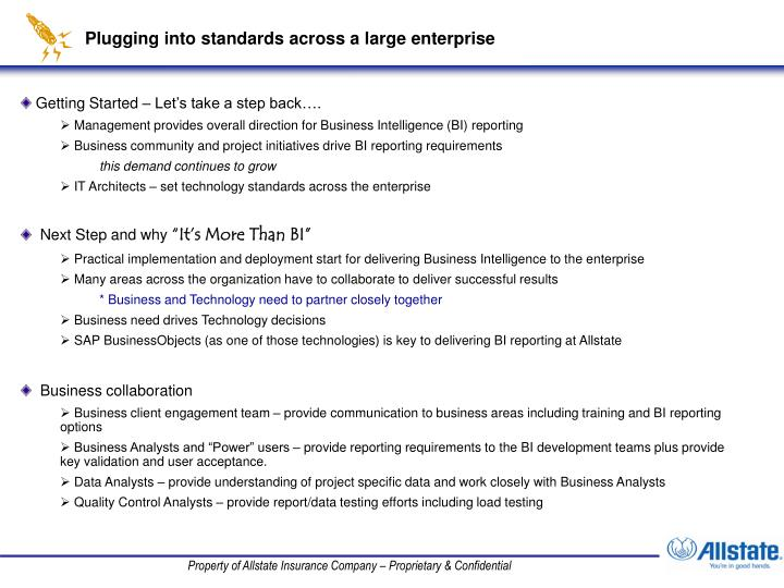 Plugging into standards across a large enterprise