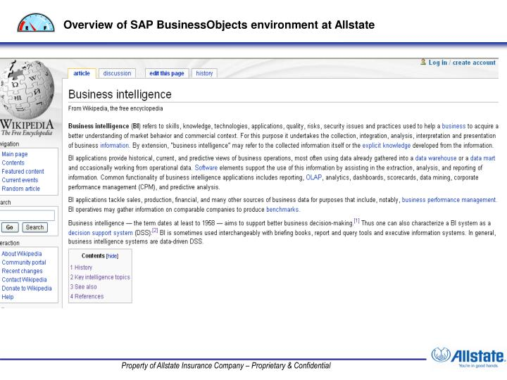 Overview of SAP BusinessObjects environment at Allstate