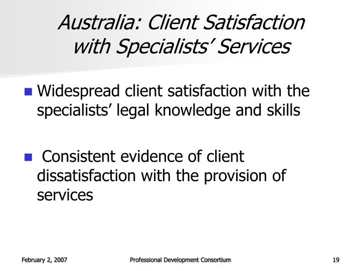 Australia: Client Satisfaction