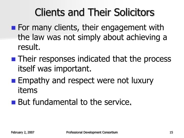 Clients and Their Solicitors