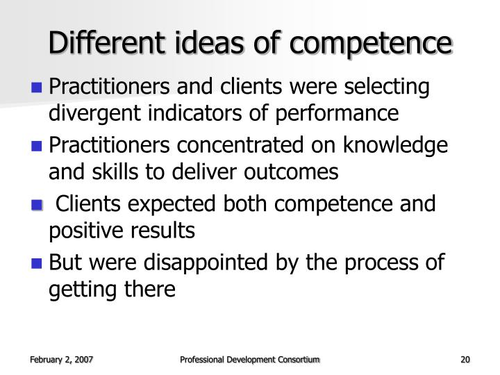 Different ideas of competence