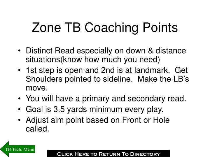 Zone TB Coaching Points
