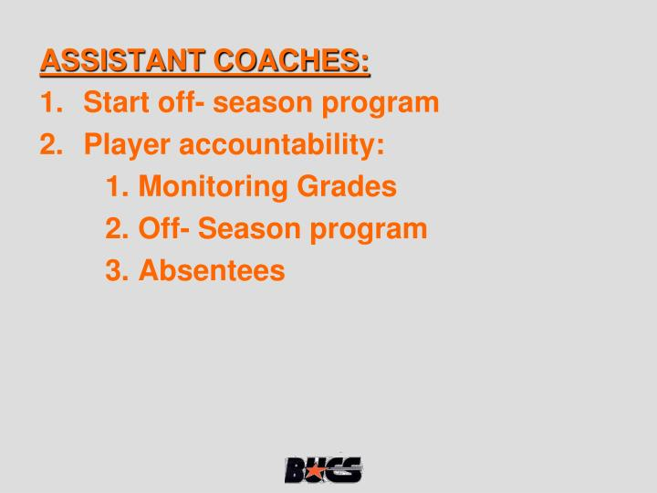 ASSISTANT COACHES: