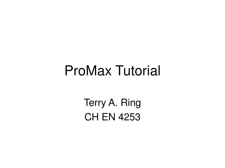Promax tutorial