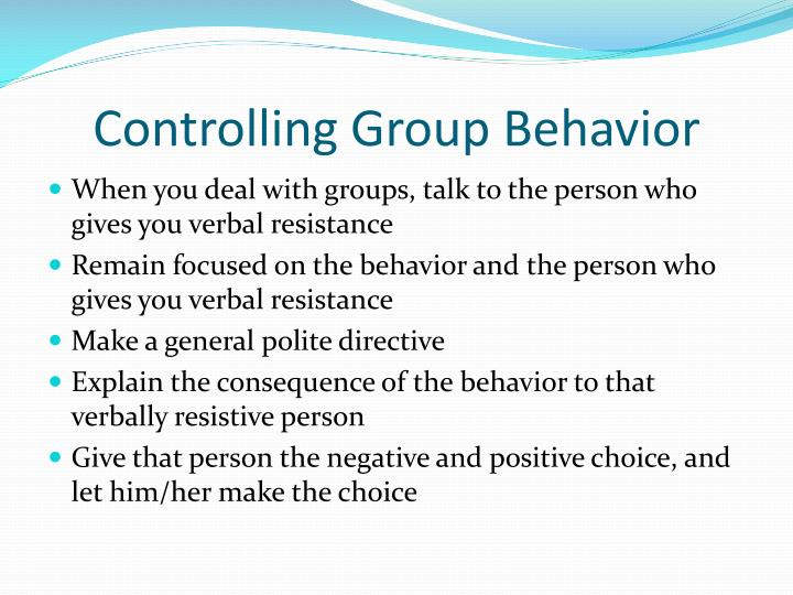 Controlling Group Behavior
