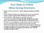 four steps to follow when g iving directions