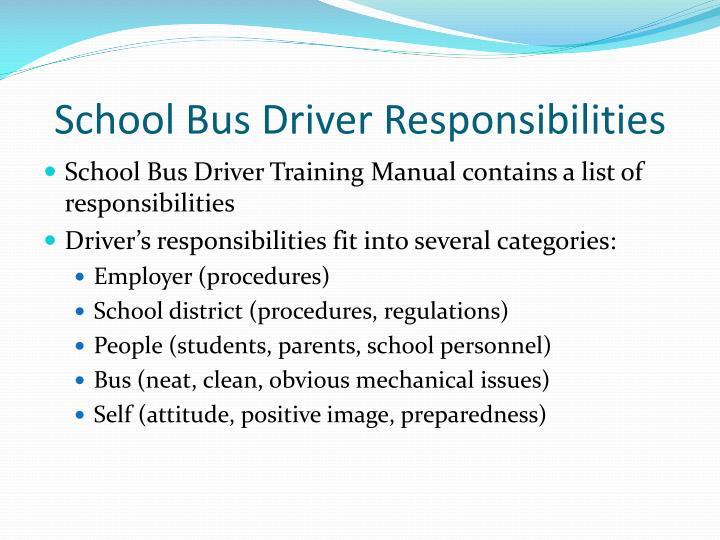 School Bus Driver Responsibilities