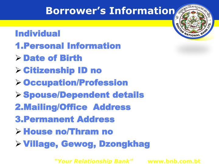 Borrower's Information