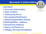 borrower s information