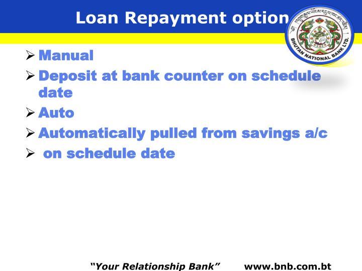 Loan Repayment option