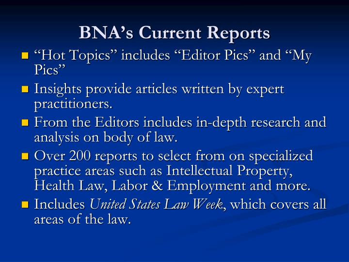 BNA's Current Reports