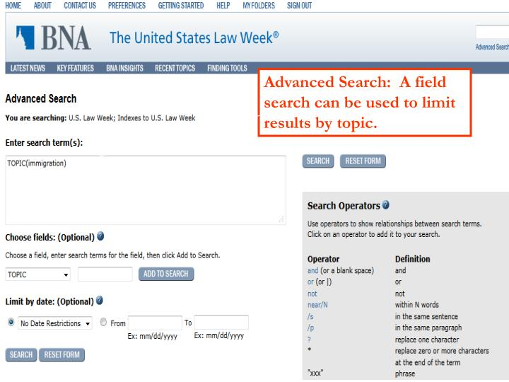 Advanced Search:  A field search can be used to limit results by topic.