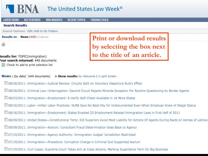 Print or download results by selecting the box next to the title of an article.